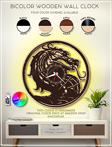 Mortal Kombat Wooden Clock. Modern Bicolor Clock. Gamer Gift. Handmade Wall Clock -
