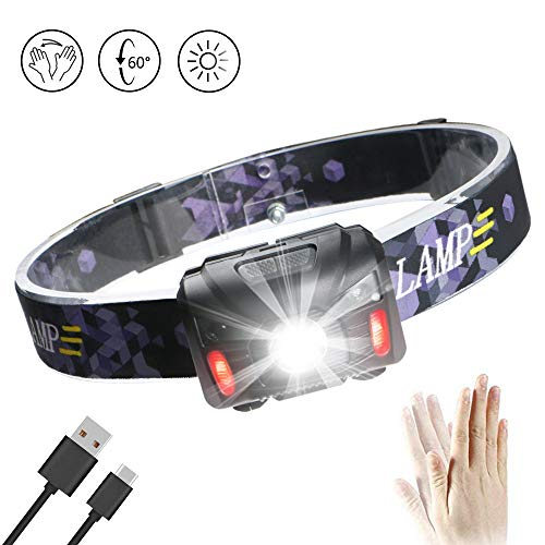 Enjoydeal LED Head Torch Headlamp USB Rechargeable Headlight PIR Body Motion Sensor Waterproof Lightweight White & Red Light 5 Modes for Night Running Fishing Camping(USB Cable & Battery Included)