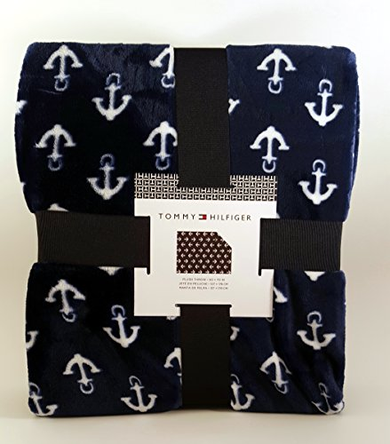 tommy-hilfiger-nautical-navy-blue-with-white-anchors-plush-bed-blanket-throw-50-x-70