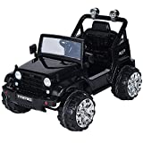 Costzon Kids Ride On Jeep Truck Car 12V Remote Control Vehicle with Twin Motor LED Lights Music MP3 (Black)
