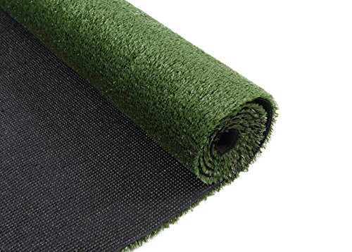 GOLDEN MOON Artificial Grass Rug Series PE Indoor/Outdoor Green Decorative Synthetic Artificial Grass Turf Area Rug 10mm Pile Height 4'x 6' by GOLDEN MOON