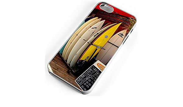 Amazon.com: iPhone Case Fits iPhone SE 5s 5 Surf Shop Wave Rental Board Ocean Sea Hawaii White Plastic: Cell Phones & Accessories