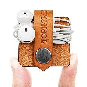 TOPHOME Cord Organizer Earbud Holders Earphone Wrap Earphones Organizer Headset Headphone Earphone Wrap Winder Cord Manager Cable Winder with Genuine Leather Handmade Orange