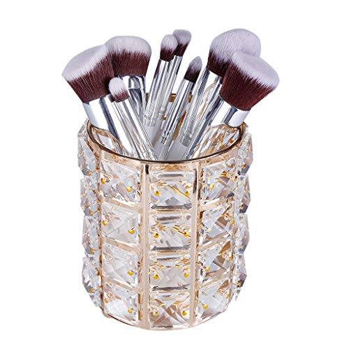 Nesee Makeup Brush Holders, Handcrafted Crystal Rotating Makeup Brush Holder Eyebrow Pencil Pen Cup Collection Cosmetic Storage Organizer for Vanity,Bathroom,Bedroom,Office Desk(Ship from US) (Gold)