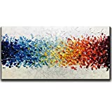 Amei Art Paintings 24X48 Inch 3D Hand-Painted On Canvas Colorful White Background Abstract Oil Painting Contemporary Artwork Simple Modern Home Decor Wall Art Wood Inside Framed Ready to Hang