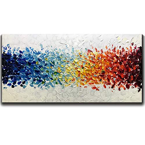 Amei Art Paintings,24X48 Inch 3D Hand-Painted On Canvas Colorful White Background Abstract Oil Paintings Contemporary Artwork Simple Modern Home Decor Wall Art Wood Inside Framed Ready to Hang