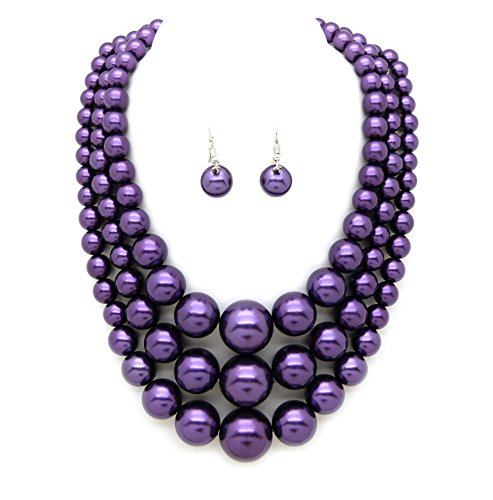 Women's Simulated Faux Three Multi-Strand Pearl Statement Necklace and Earrings Set (Purple) Purple Necklace Earrings