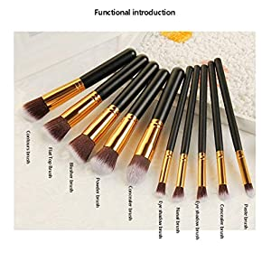 Makeup Brush Set Gold and Black Color With Travel Bag Goat Hair