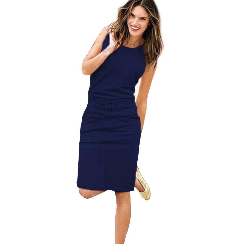 POTO Dress for Women,Solid Sleeveless Bodycon Mini Dress Casual Evening Party Dress Beach Tank Dress Sundress (S, Navy)