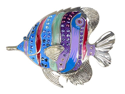Alilang Multicolor Rainbow Crystal Enamel Tropical Ocean Angelfish Sea Animal Fish Lapel Brooch Pin