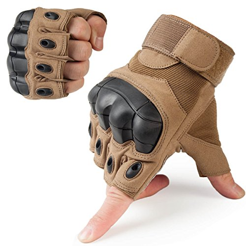 JIUSY Tactical Gloves Military Fingerless Hard Rubber Knuckle Half Finger for Army Gear Sports Driving Shooting Paintball Riding Motorcycle Hunting Gloves Size Large Brown