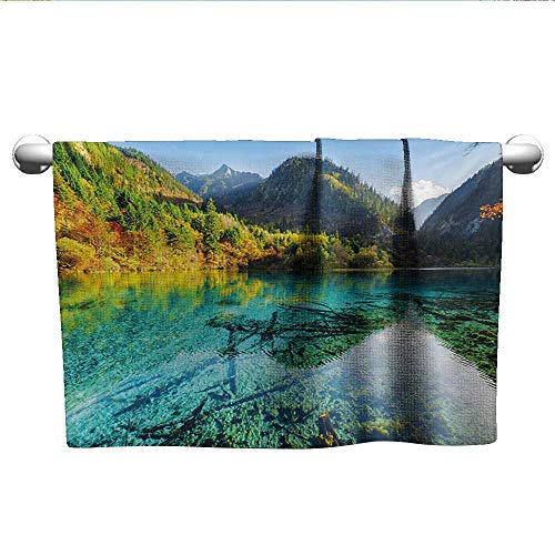 LilyDecorH Nature,Boys Towel Idyllic Mountain Creek Crystal Water Forest Pastoral Rural Landscape Hotel Pool Towels Teal Fern Green Marigold W 28