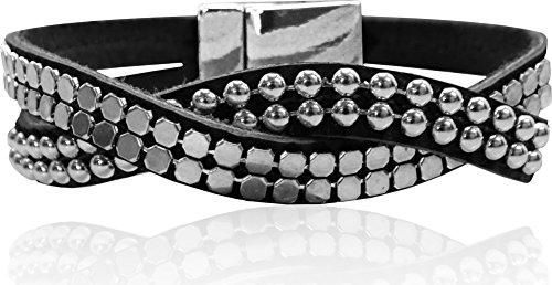 - LUNA Double Wrap Around Bracelet - Single Twist Metal Studding - Black/Silver
