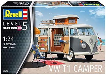 Revell 07674 VW T1 Camper originalgetreuer Modellbausatz für Experten, unlackiert