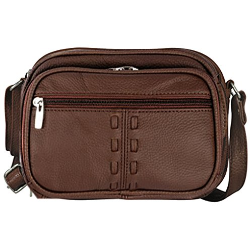 SILVERFEVER Body Shoulder Cross Leather Purse Womens braided Brown Organizer Handbag PwHxP