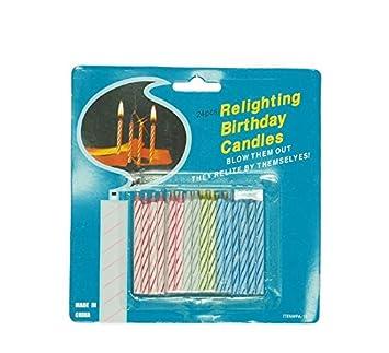 hojas, 24 mágicas de colores con llama que no se, apagado, velas expositor para Cumpleaños y fiestas, broma divertido, Multicolor, 32500