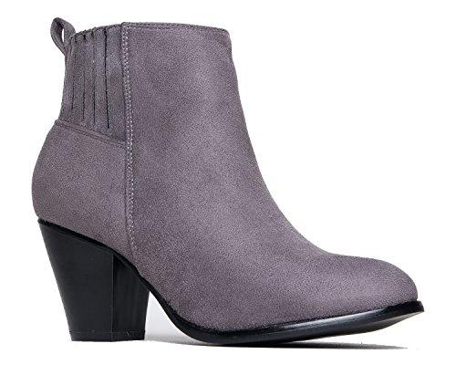 J. Adams High Heel Suede Ankle Boot - Slip on Stacked Heel Bootie - Comfortable Walking Shoe - Keni by Grey Suede