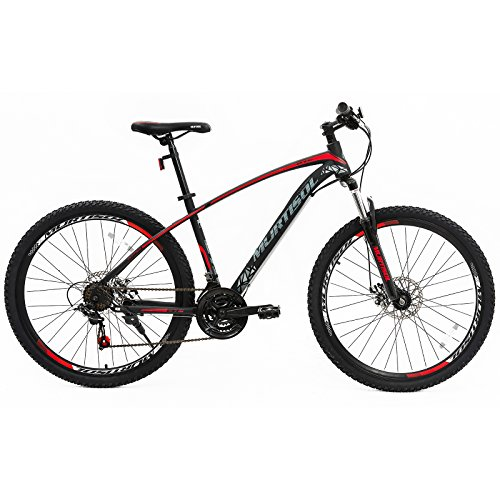 - Murtisol Mountain Bike 27.5'' Hybrid Bicycle with Dual Disc Brake, Shimano 21 Speeds Derailleur, Designed Frame, Suspension Fork, Adjustable Seat Red Black