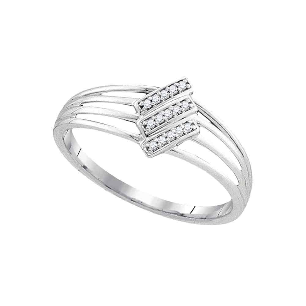 Diamond Stripe Ring Solid 10k White Gold Fashion Band Stackable Style Polished Finish Fancy 1/20 ctw