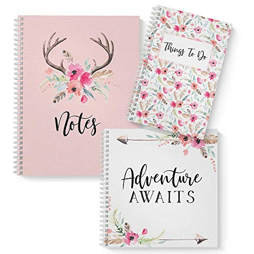 Boho Trio: 3-Pack Softcover Wirebound Spiral Notebook Set. Three Chic Designs with 120 College Ruled, Dot Grid, and Checklist Paper. Assortment of journal sizes: 5.5