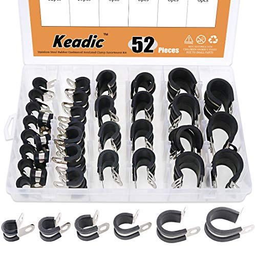 Keadic 52Pcs 1/4 3/8 1/2 5/8 3/4 1 Cable Clamp Rubber Wire Clamps Stainless Steel Rubber Cushioned Insulated Clamps Metal Clamp Assortment Kit with Durable Storage Box