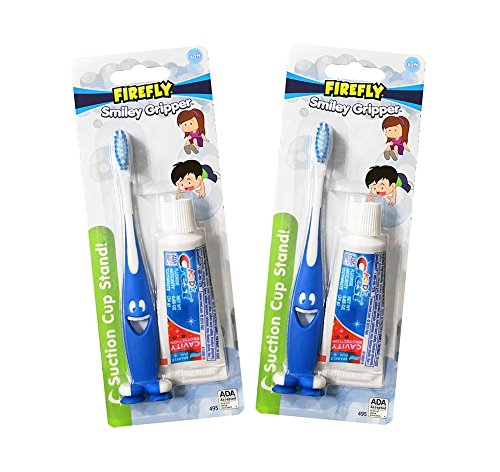 Dr. Fresh Firefly Smiley Gripper Toothpaste/Brush (2-Pack) Travel Kit, Soft