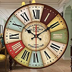 Vintage Rustic Country Tuscan Style Wooden Decorative Wall Clock with Roman Numerals for Bedroom Round Silent Clock 12 Inches