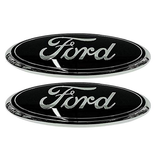 (2x PACK FORD F150 Black Grille or Tailgate Emblem 2005-14, Oval 9