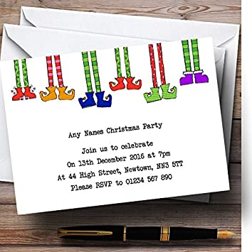 funny elf legs personalized christmas new year holiday party invitations