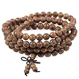 Areke Mens Wood Bracelets Link Wrist Necklace Unisex Women's Tibetan Buddhist Bead Prayer Buddha Mala
