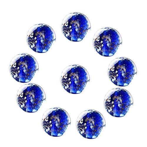 Merssavo Frosted Gemstone Glow Round Glass Loose Luminous Beads Glazed Beads Charm Craft DIY Ornament Dark Blue,12mm