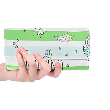 76427609dd86 Silly Meow Cute Hand Drawn Unicorn Custom Women's Wallet Women's Trifold  Long Clutch Wallets Great Gift