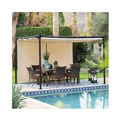 Amazon Com Steel Pergola Gazebo With Retractable Canopy Shades