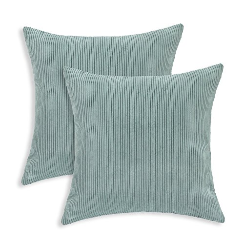 soft decorative pillows. Pack of 2 CaliTime Cozy Throw Pillow Covers Cases for Couch Bed Sofa  Ultra Soft Corduroy Striped Both Sides 18 X Inches Duck Egg Pillows Amazon com