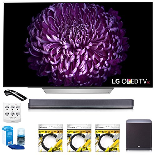 LG 55 E7 OLED 4K HDR Smart TV (OLED55E7P) with Hi-Resolution Sound Bar, 3x 6ft HDMI Cable, Universal Screen Cleaner for LED TVs, 6 Outlet Wall Tap w/ 2 USB Ports & 6ft Optical Audio Cable