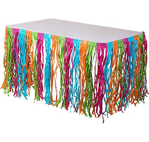 AmscanMulticolor Grass Party Table Skirt, 9' x 29