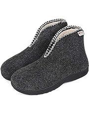 Men's Warm Wool Felt Comfy Boots Slippers Cozy Memory Foam House Shoes with Adjustable Zipper Bootie