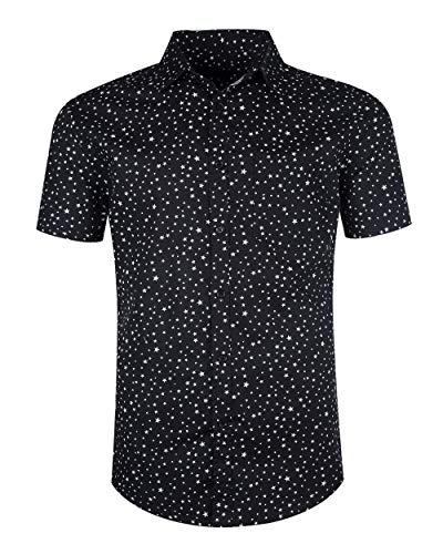 TOPORUS Mens Casual Regular Fit Short Sleeve Plaid Checked Shirts Star Black 2XL ()