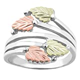 Twin Bypass Layered Vines Ring, Sterling Silver, 10k Yellow Gold, 12k Green and Rose Gold Black Hills Gold Motif, Size 7