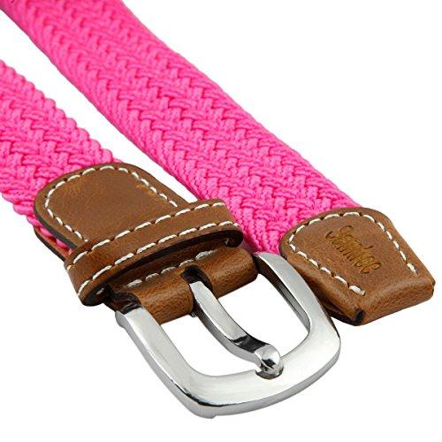 Samtree Braided Belts for Women,PU Leather Skinny Elastic Web Belt(Rose Pink)