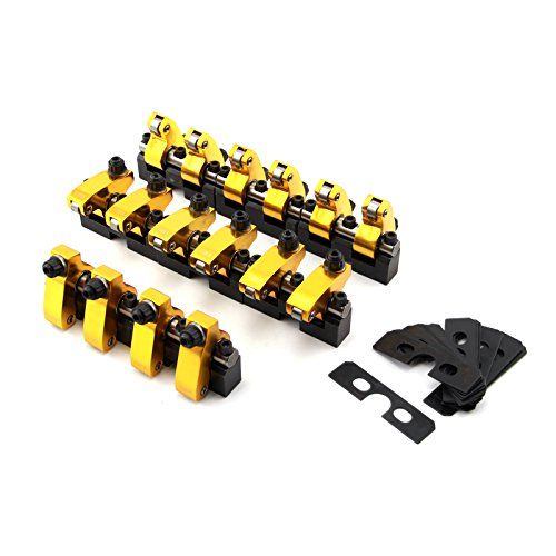 PCE261.1093 Chevy SBC 350 1.5 Ratio Alum Shaft Mount Roller Rocker Arm Set -Zero Offset Shaft Mount ()