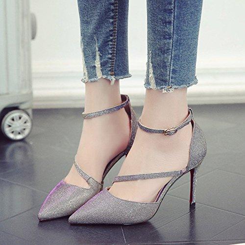 Mujeres Gris Los Tacón Zapatos Con Zapatos Solo Fina Punta Alto De Ranurado Para Zapatos Hembra GAOLIM Una gwRSw