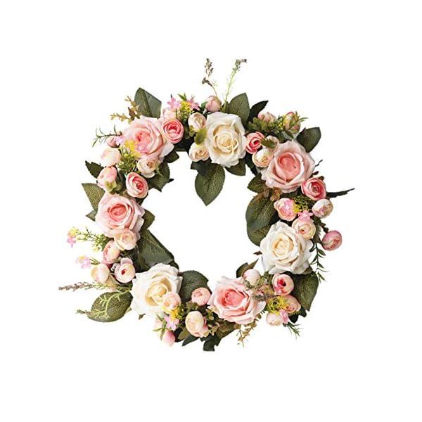 Anpay Artificial Rose Flower Wreath Fake Floral Rattan Garland Silk Fall Door Wreath for Front Door, Window, Wall, Wedding, Home Decor