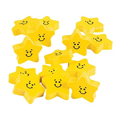 SMILE FACE STAR ERASERS - Stationery - 24 Pieces: Toys & Games