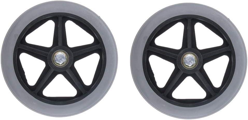 2 ruedas delanteras para sillas de ruedas, ruedas Walker de repuesto de 6 pulgadas, rodamientos 5/16, color negro