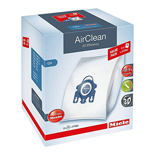 Miele AirClean 3D Efficiency Dust Bag, Type GN, XL Value Pack, 8 Bags & 4 Filters (Miele Vacuum Bags Fjm)