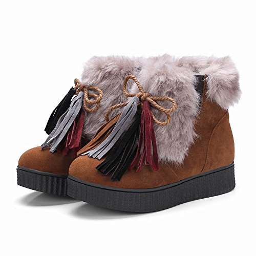 Charm Foot Womens Comfort Nappe Lace Up Platform Short Boots Marrone