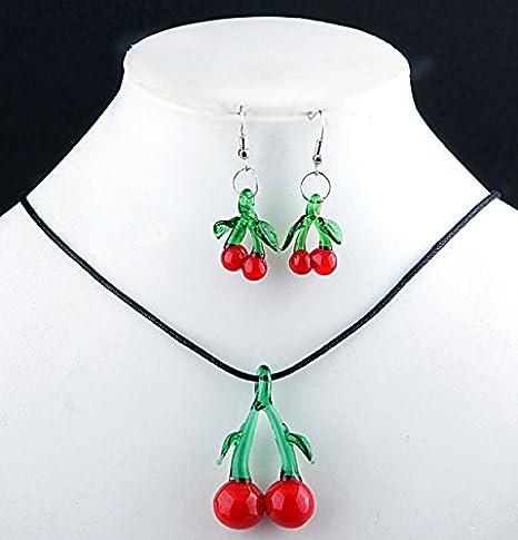 Ecloud Shop® Rojo y Verde en Forma de Cereza Encantadora Pendientes de Cristal Conjunto de Collar