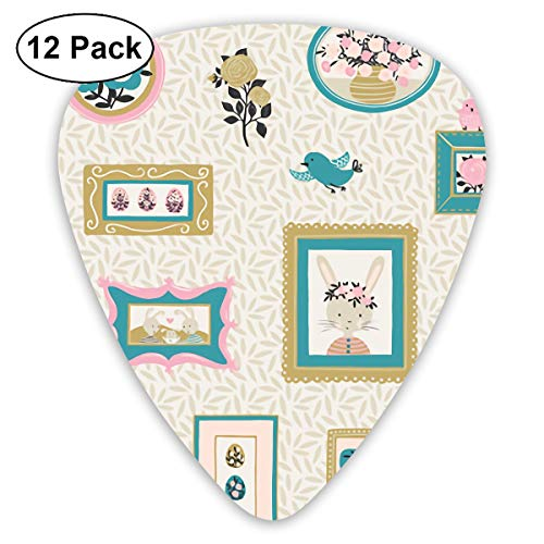 Easter Rabbit Camera Photos Ultra Light 0.46 Medium 0.73 Heavy 0.96mm Printed Round Flat Soft Plastic Jazz Electric Acoustic Bass Guitar Pick Accessories Variety Pack