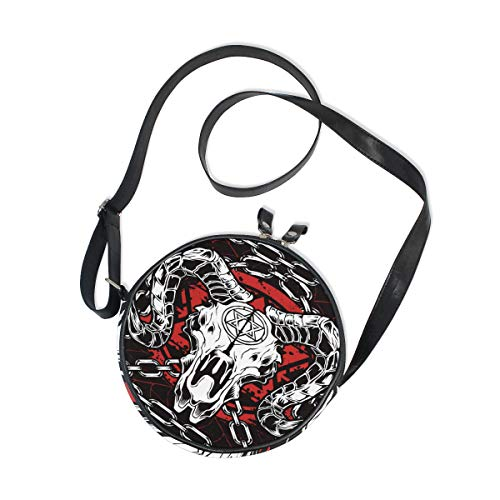 DERLONKAJE Devil Skull Baphomet Satanic Pentagram Round Crossbody Bag Canvas Purse Messenger Bag